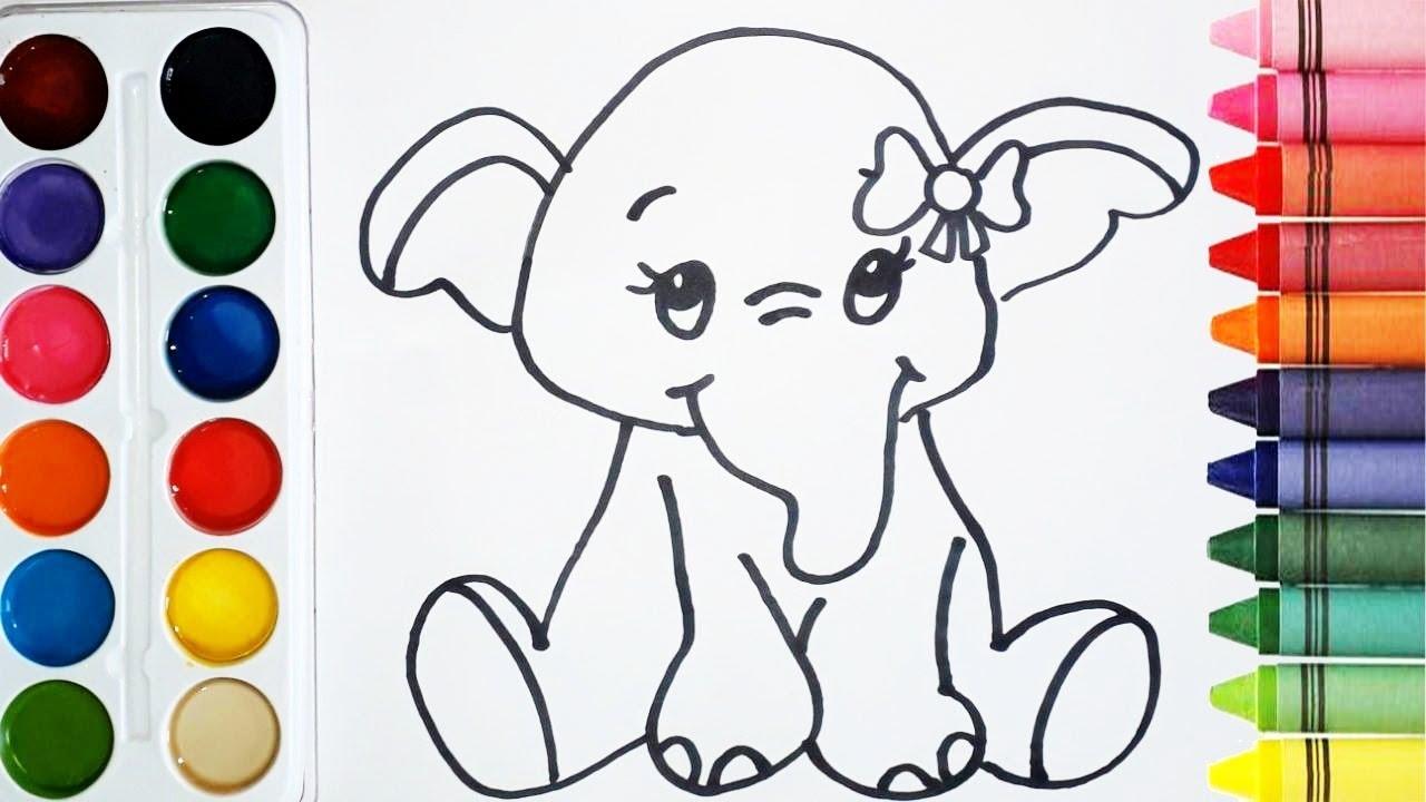 Imagenes De Niños Pintando Para Colorear: Como Dibujar Y Colorear Un Elefante De Arcoiris
