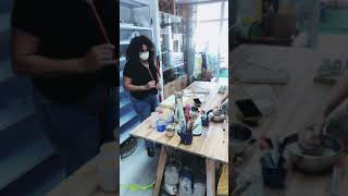 Tali plays with underglaze and glaze - Coocoo ceramics studio