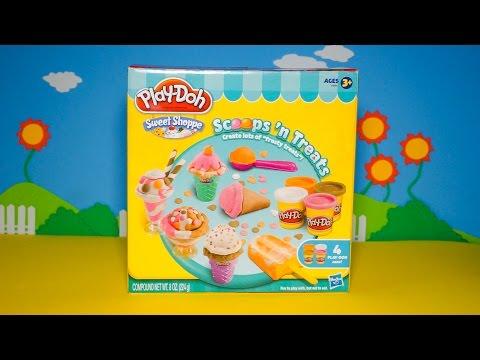 Giới thiệu bộ đồ chơi làm kem bằng đất sét Play Doh - Hướng dẫn bé làm kem que sữa dâu