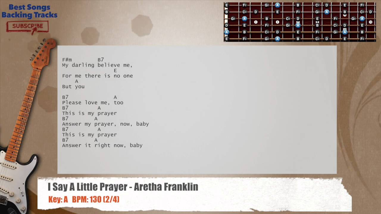 I Say Little Prayer Aretha Franklin Guitar Backing Track With