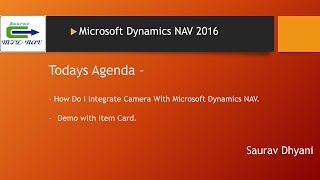 How To Integrate Camera With Microsoft Dynamics NAV 2016.