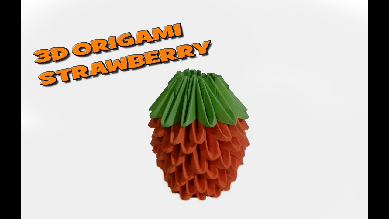 3d origami strawberry tutorial hd origami world ����