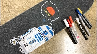 Star Wars Skateboard Griptape Art Time Lapse / R2D2 & Taco!