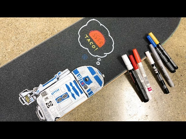 Star Wars Skateboard Griptape Art Time Lapse / R2D2 & Taco!