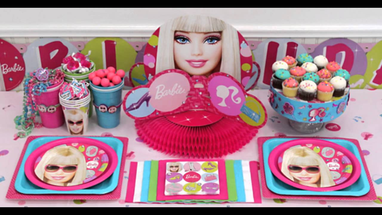 Beautiful barbie party decorations ideas youtube for R b party decorations