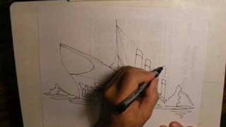 Draw the TITANIC in 7 sketch strokes !