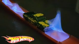 SETTING A HOT WHEELS CAR ON FIRE & TRACK TIME