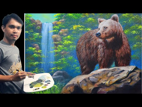 9ed36aff2 Acrylic Painting Tutorial Brown Bear on a Rock and the Waterfall by JM  Lisondra