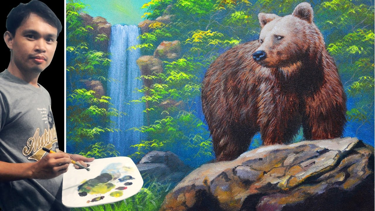 Acrylic Painting Tutorial Brown Bear On A Rock And The