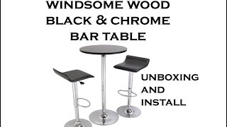 Windsome Wood & Chrome Bar Pub Table Unboxing & Install