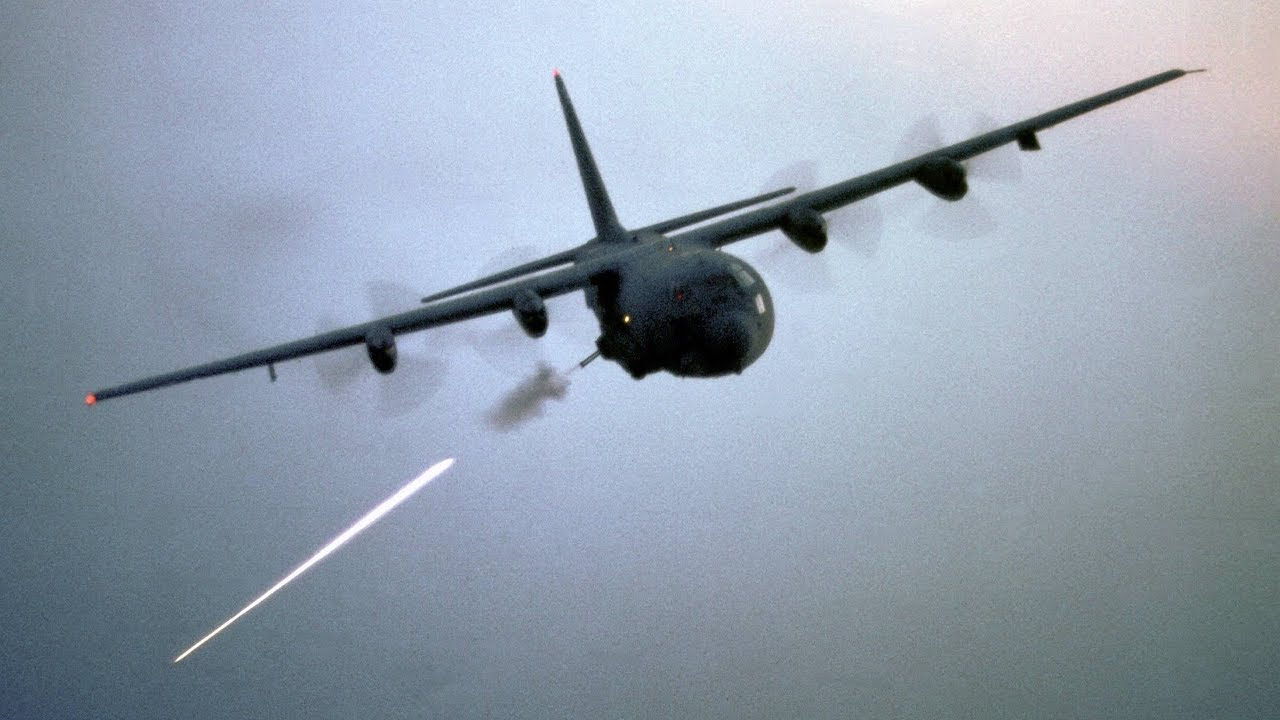 Deadly AC-130 Gunship in Action Firing All Its Cannons