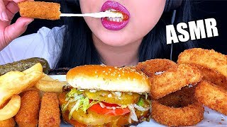 ASMR CHEESY MOZZARELLA STICKS + CRUNCHY ONION RINGS (Eating Sounds) FAST FOOD BURGER | ASMR Phan