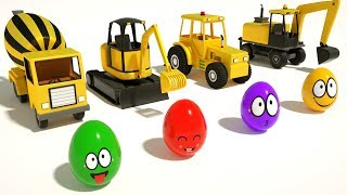 Build #excavator, Tractor, Mixer Truck, Bulldozer - Learn Colors With Surprise Eggs for Kids