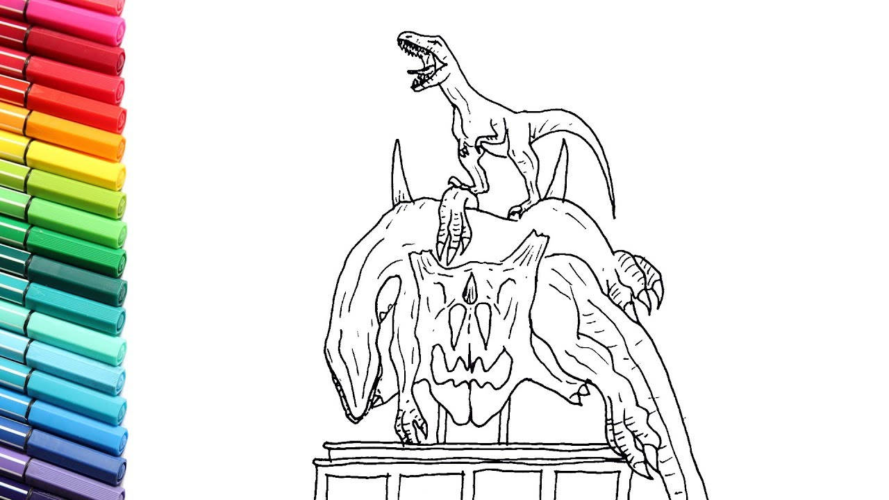 How To Draw The Indoraptor Death On The Triceratops Skull Jurassic World Dinosaurs Color Pages