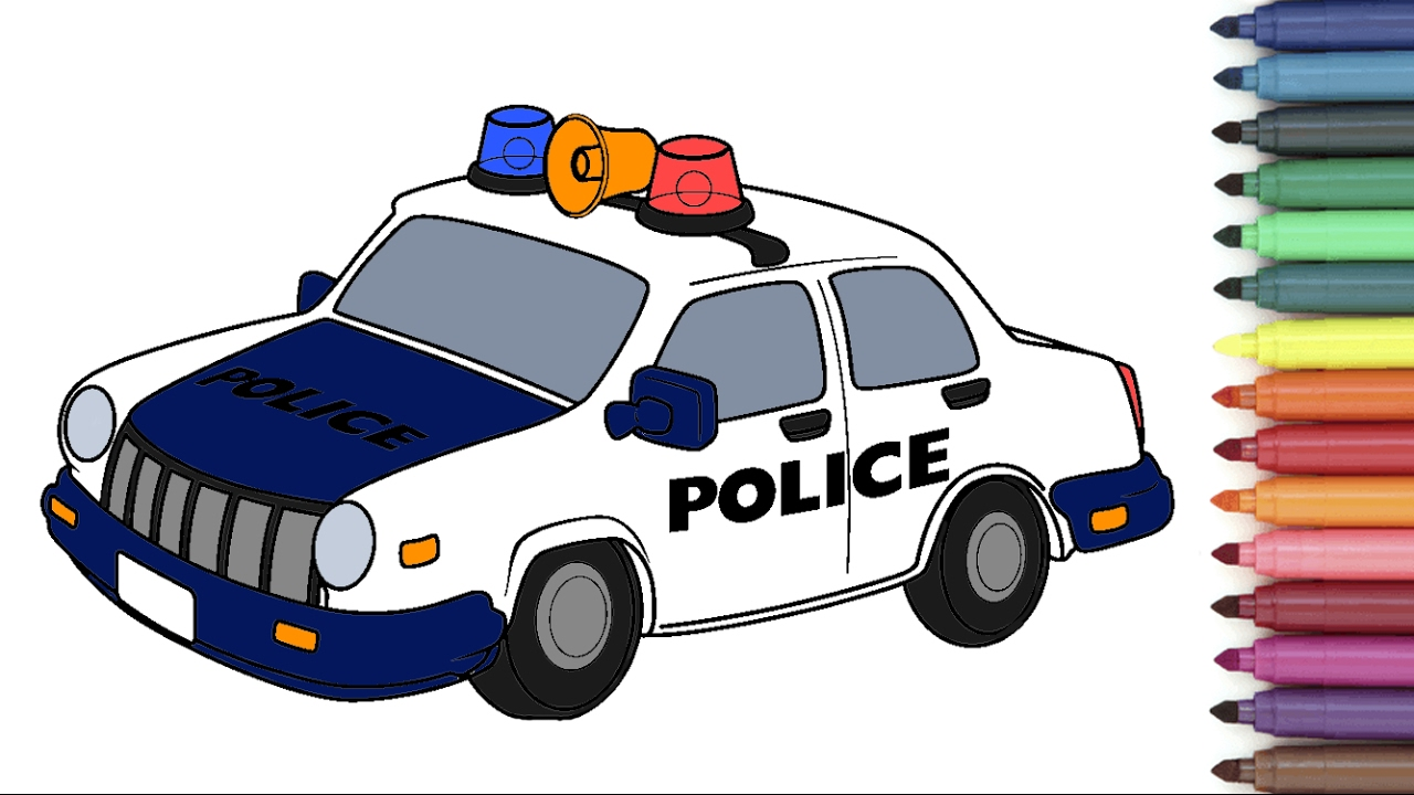 police car coloring page for kids