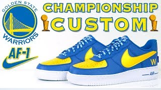 Golden State Warriors Championship Air Force 1 Custom by Vick Almighty