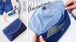 CUT OFF JEANS LEG AND SEW A PURSE // DIY Without Sewing Skills