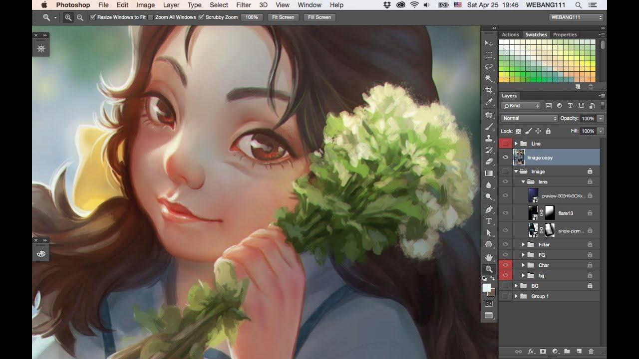 White flowers bouquetdigital painting youtube izmirmasajfo Choice Image
