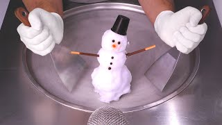 Snowman Ice Cream RoĮls | how to make real Snow to Ice Cream - Winter ASMR