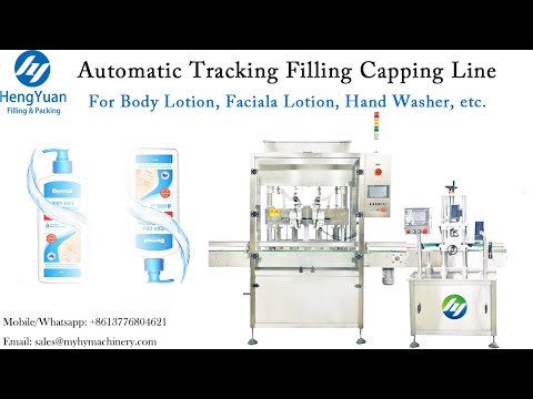 Automatic Tracking Filling Capping Line For Hand Sanitizer Gel, Body Lotion, Facial Lotion Filler