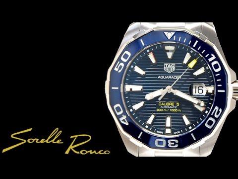 88178488574 TAG Heuer Aquaracer 300m Calibre 5 Blue Ceramic - YouTube