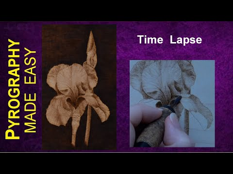 Pyrography Art Purple Iris Flower Wood Burning Time Lapse