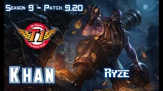 SKT T1 Khan RYZE vs MALPHITE Top - Patch 9.20 EUW Ranked