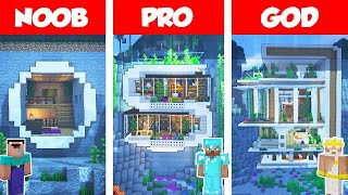Minecraft NOOB vs PRO vs GOD: UNDERWATER MODERN HOUSE BUILD CHALLENGE in Minecraft / Animation