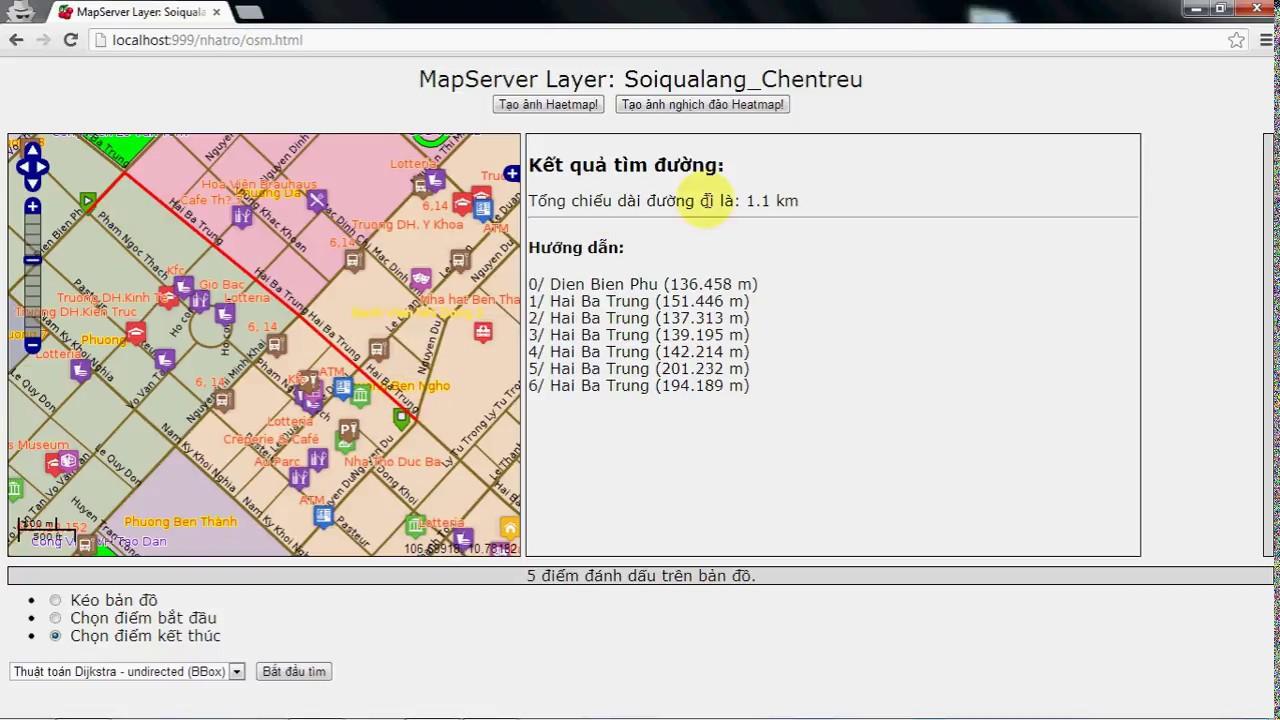 Demo WebGIS Mapserver, Heatmap, Openlayers, Pgrouting v2