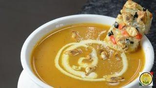 Roasted Pumpkin & Tomato Soup  - By Vahchef @ vahrehvah.com
