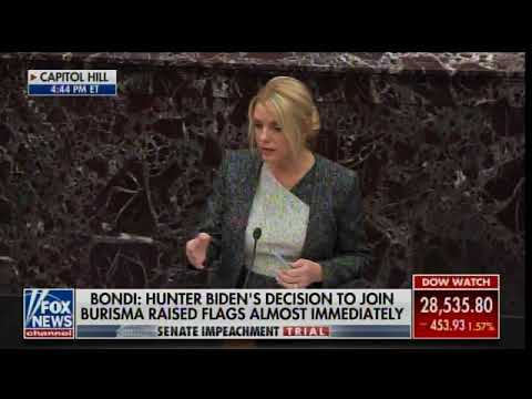 Image result for Pam Bondi DROPS A MOAB ON Joe Biden and Son Hunter Biden at Senate Impeachment Trial""