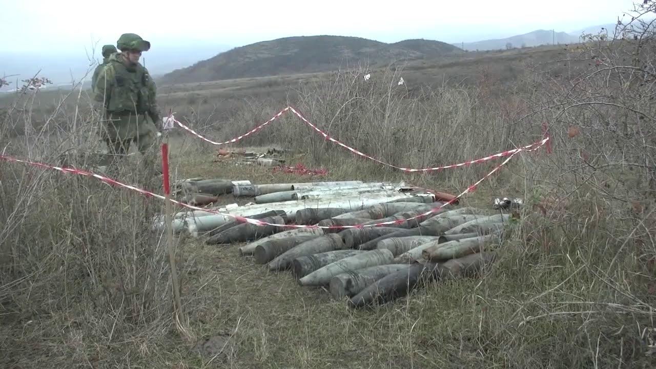 Разминирование южной окраины Степанакерта и утилизация найденных боеприпасов