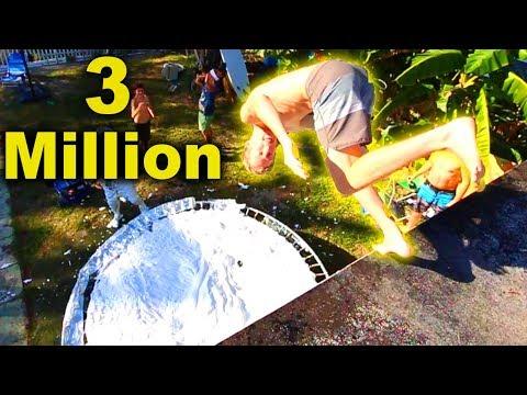 3 MILLION SUBSCRIBERS!! (Trampoline Vs. WORLDS BIGGEST CAKE!!)