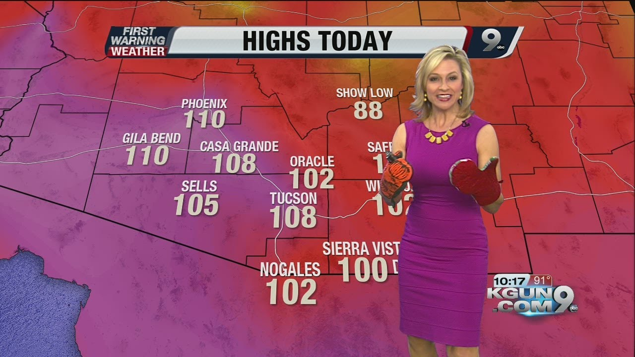 Chief meteorologist erin christiansen s kgun 9 forecast 10 pm monday