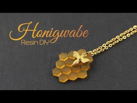 Honigwabe aus Resin – DIY Schmuck | Gießharz Anleitung | How to: Bienen Halskette | Bienenwabe