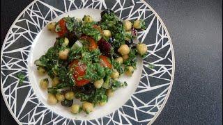 Вегетарианский салат с нутом.  Vegetarian salad with chickpeas.