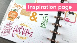 The Happy Planner INSPIRATION page DASHBOARD layout