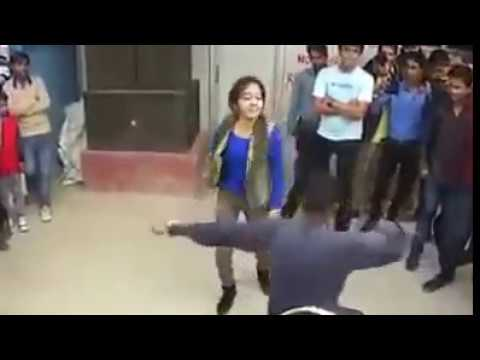 Desi punjabi college Girl street dhol dance with boy dhol