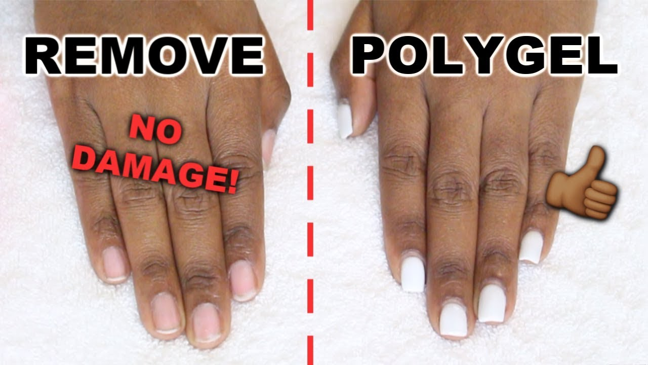 How I Remove Polygel Nails With No Damage Healthy Natural Nails Youtube