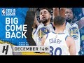 BEST of Stephen Curry, Klay Thompson & Durant BIG COMEBACK vs Kings 2018.12.14 | NBA Highlights