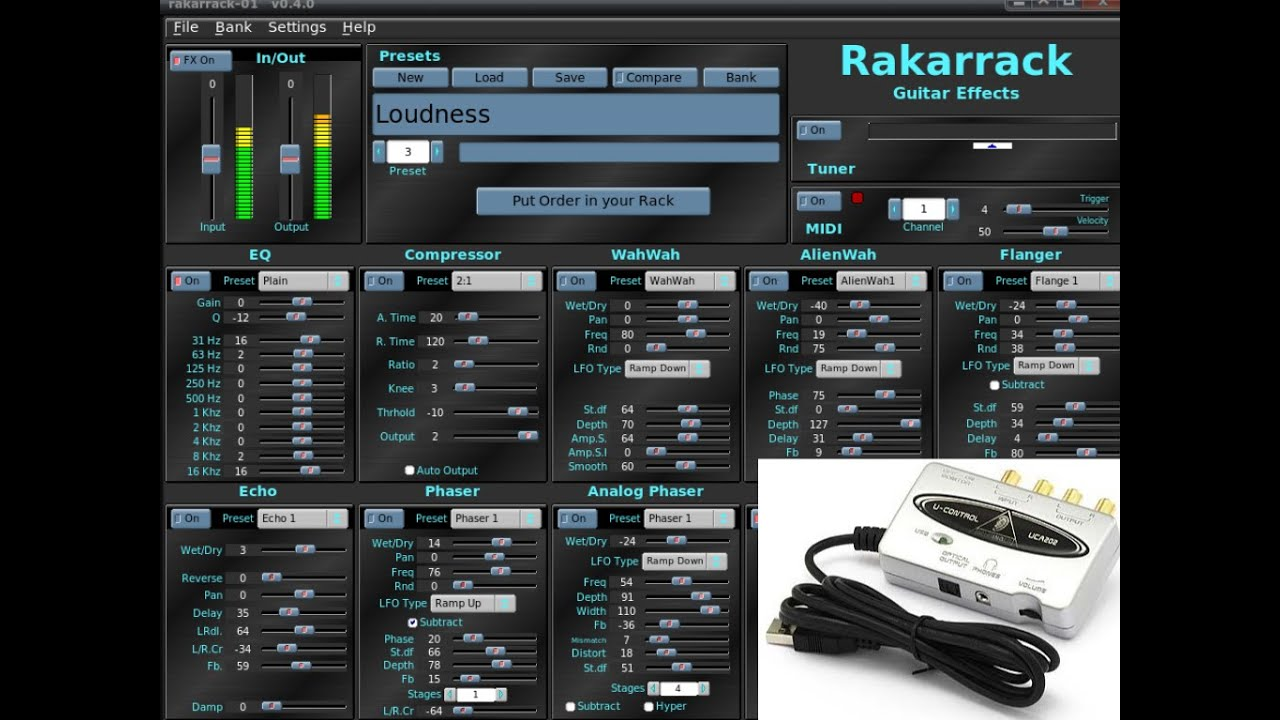 rakarrack behringer uca202 guitar software amplifier youtube. Black Bedroom Furniture Sets. Home Design Ideas