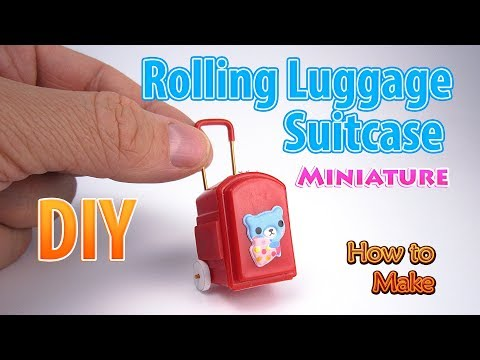 DIY Miniature Rolling Luggage Suitcase | DollHouse | No Polymer Clay!