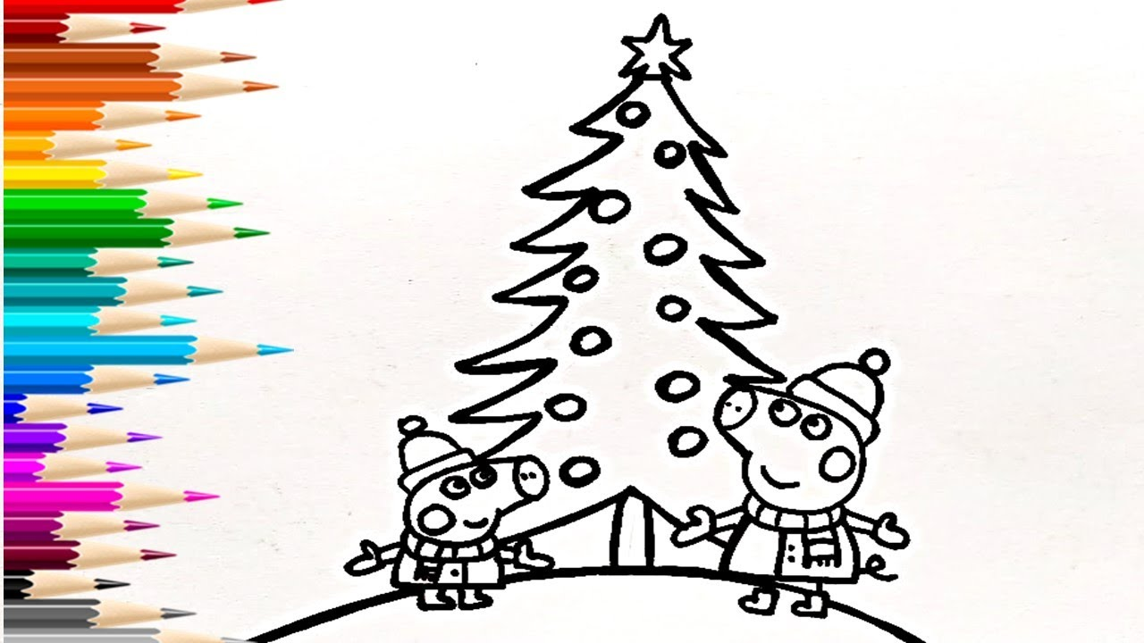 Как нарисовать Пеппу и Джорджа у ёлки на Новый год ...