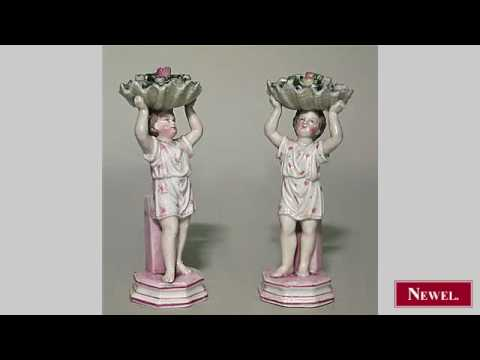 Antique Pair of French Victorian porcelain figures of boy