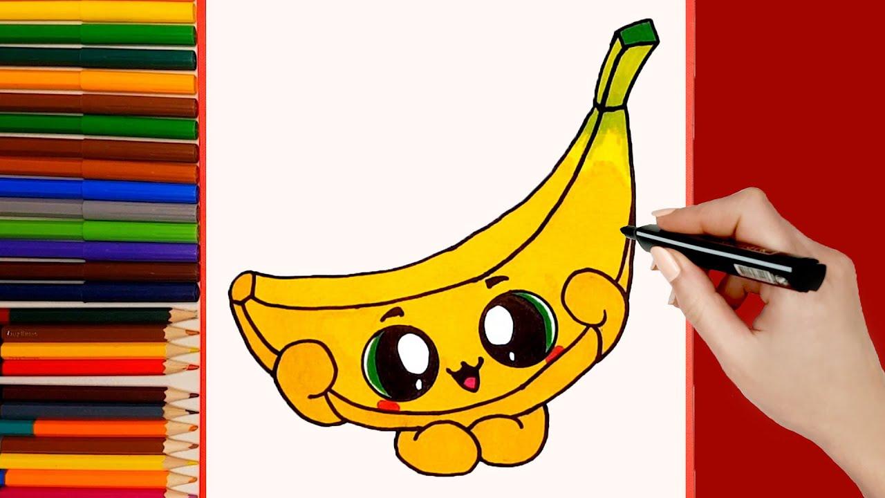 Como Dibujar Un Platano Kawaii Paso a Paso 🍌 Dibujos kawaii faciles 🍌 How to draw a banana