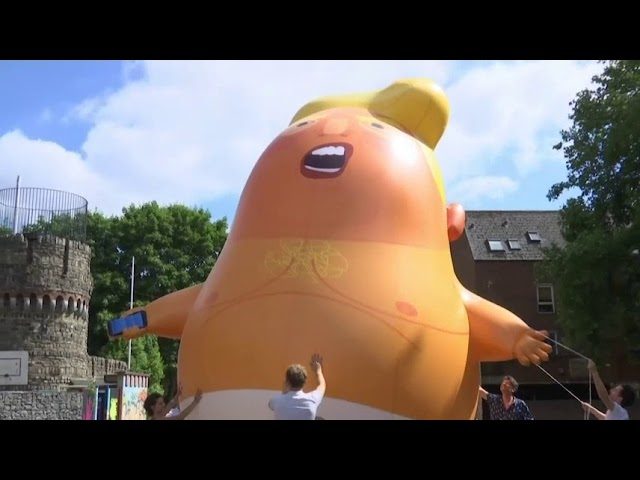When President Trump arrives in London Thursday as part of his European tour, he'll head straight into a storm of demonstrations as well as a giant orange inflatable balloon named Trump Baby. (The Associated Press)