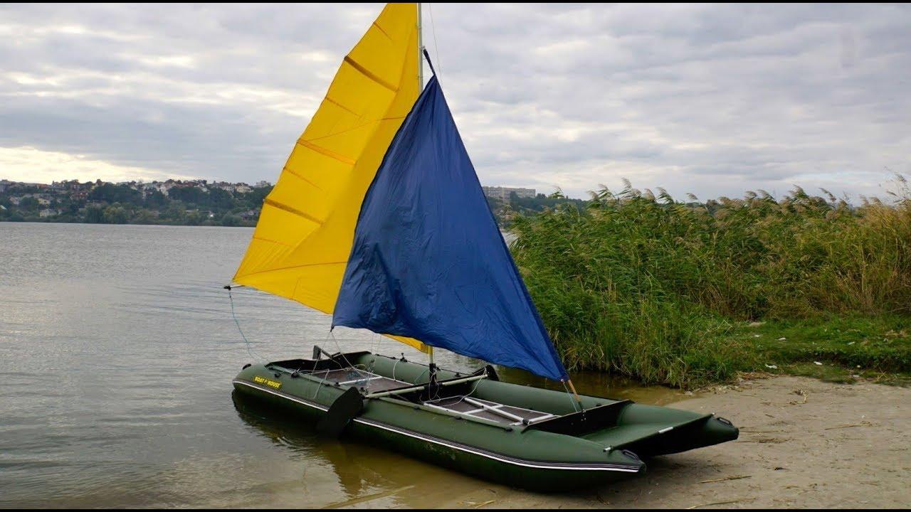Обзор лодки ПВХ с латинским парусом - YouTube