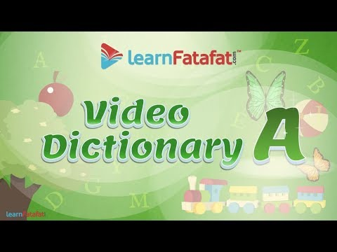 Video Dictionary for Kids with Pictures - Alphabet A (English to Hindi)