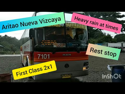 Victory Liner 2x1 FIRST CLASS Ride over Nueva Vizcaya. (Heavy rain at times).