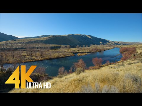Yakima Canyon River - 4K Relaxation Video with River Views and Water Sounds - Eastern Washington, WA